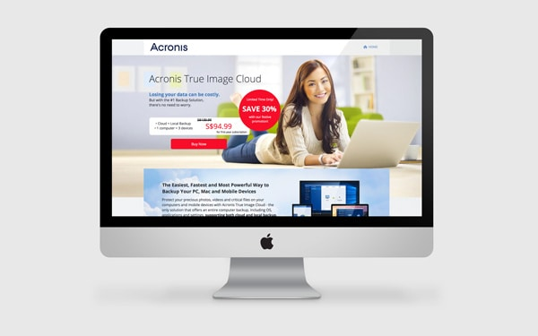 Acronis True Image Cloud Landing Page